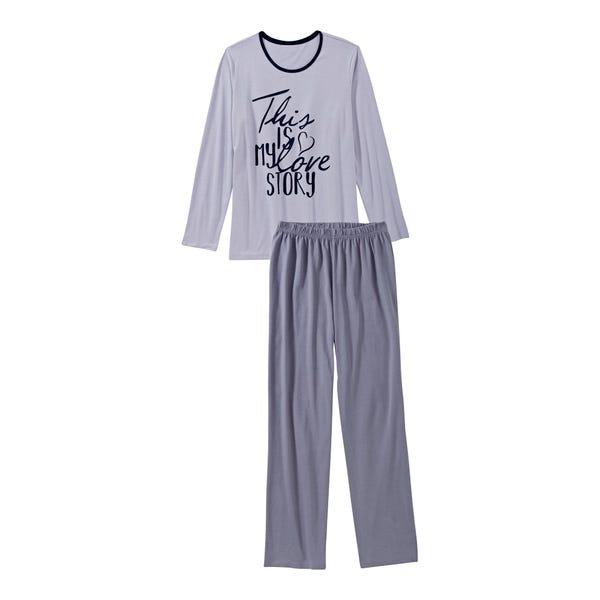 Damen-Schlafanzug mit hübschem Schriftzug, 2-teilig