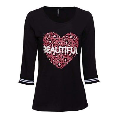 Damen-Shirt mit Herz-Frontaufdruck