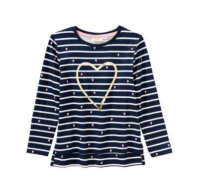 Mädchen-Shirt mit glänzendem Herz-Aufdruck