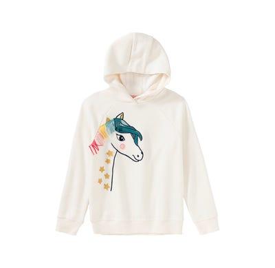 Mädchen-Kapuzenpullover mit Pferde-Stickerei
