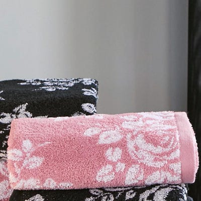 Duschtuch mit wunderschönem Rosenmuster, ca. 65x130cm