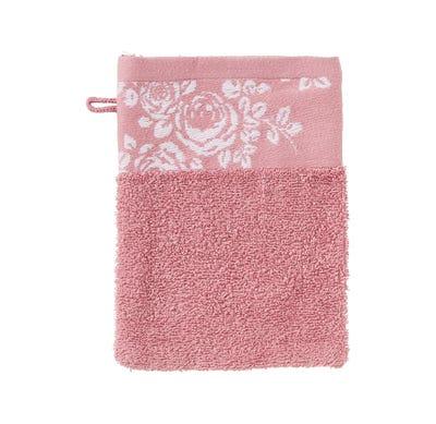 Waschhandschuh mit Rosen-Bordüre, 16x21cm
