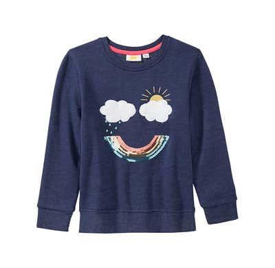 Mädchen-Sweatshirt mit Regenbogen-Applikation