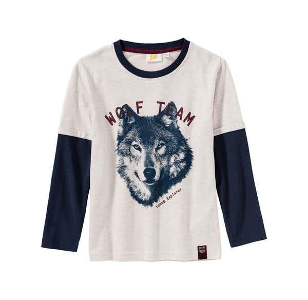 Jungen-Shirt mit Wolf-Frontaufdruck