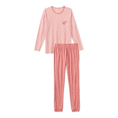 Damen-Schlafanzug mit Herz-Aufdruck, 2-teilig