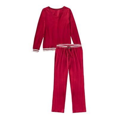 Damen-Schlafanzug mit gestreiften Bündchen, 2-teilig
