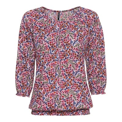 Damen-Shirt mit gesmoktem Saum