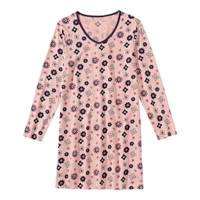 Damen-Nachthemd mit trendigem Blumenmuster