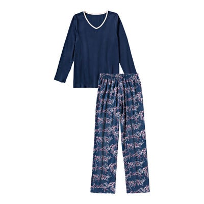 Damen-Schlafanzug mit Kontrast-Einfassband, 2-teilig