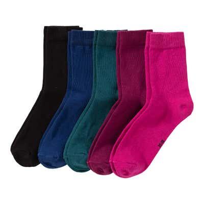 Damen-Socken in verschiedenen Farben, 5er Pack