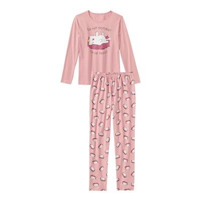 Mädchen-Schlafanzug mit Katzen-Muster, 2-teilig