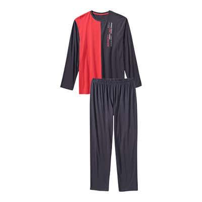 Herren-Schlafanzug mit Farbblock-Design, 2-teilig