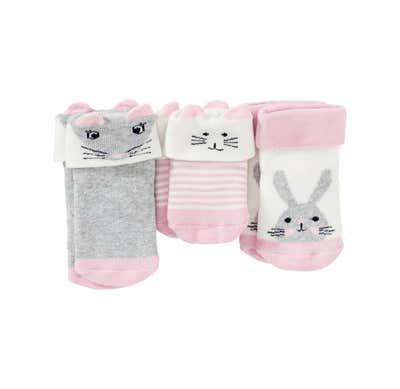 Baby-Mädchen-Frottiersocken mit Tiergesichtern, 3er Pack