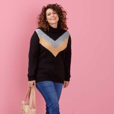 Damen-Pullover mit hübschem Muster, große Größen