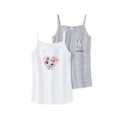 Mädchen-Unterhemd mit Katzen-Aufdruck, 2er Pack