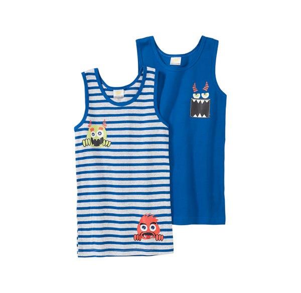 Jungen-Unterhemd mit Monster-Motiven, 2er Pack