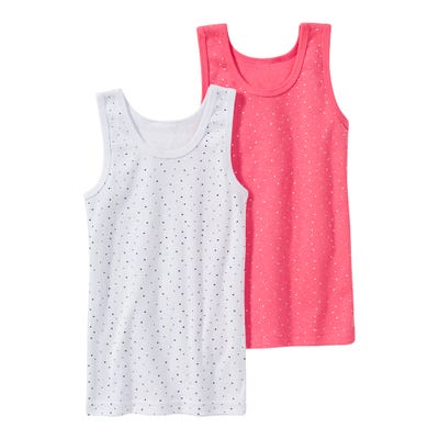 Mädchen-Unterhemd mit Punkte-Muster, 2er Pack