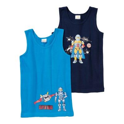 Jungen-Unterhemd mit Superhelden-Aufdruck, 2er Pack
