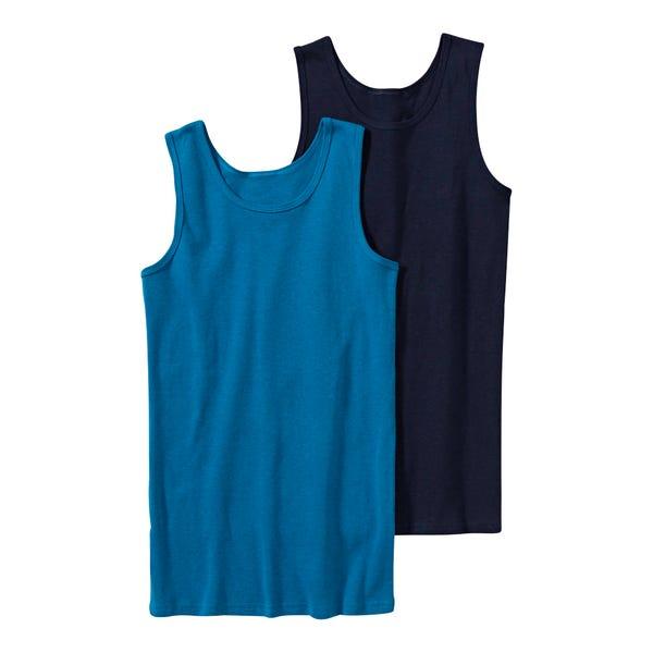 Jungen-Unterhemd aus reiner Baumwolle, 2er Pack
