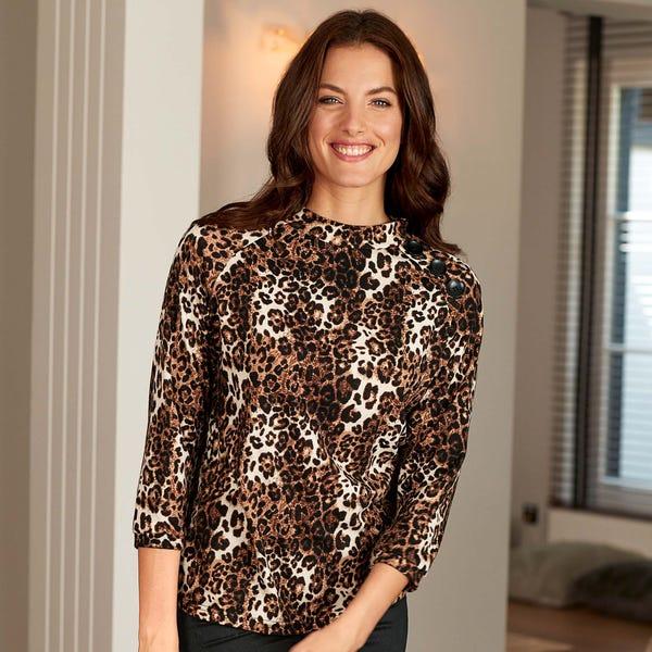 Damen-Shirt mit angesagtem Leopardenmuster
