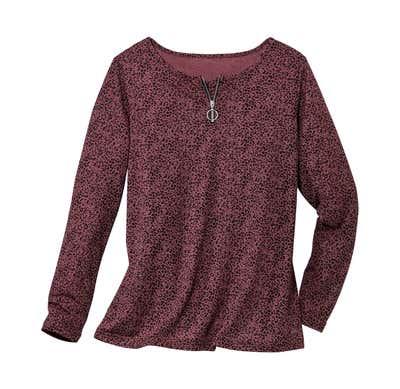 Damen-Shirt mit Reißverschluss-Ausschnitt