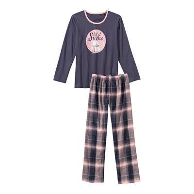 Damen-Schlafanzug mit Eisbären-Frontaufdruck, 2-teilig
