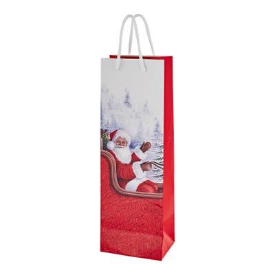 Flaschen-Geschenktüte mit Weihnachtsdesign, ca. 36x12x9cm