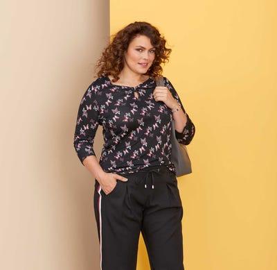 Damen-Shirt mit Tropfen-Ausschnitt, große Größen