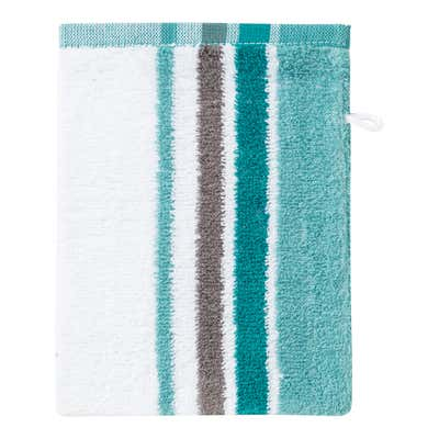 Waschhandschuh mit trendigem Streifendesign, 16x21cm
