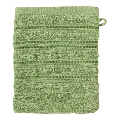 Waschhandschuh mit edlen Struktur-Streifen, 16x21cm