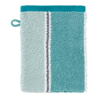Waschhandschuh mit Blockstreifen, 16x21cm