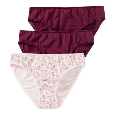 Damen-Minislip mit floralem Muster, 3er Pack