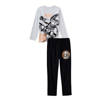 Jungen-Schlafanzug mit Ninja-Frontaufdruck, 2-teilig
