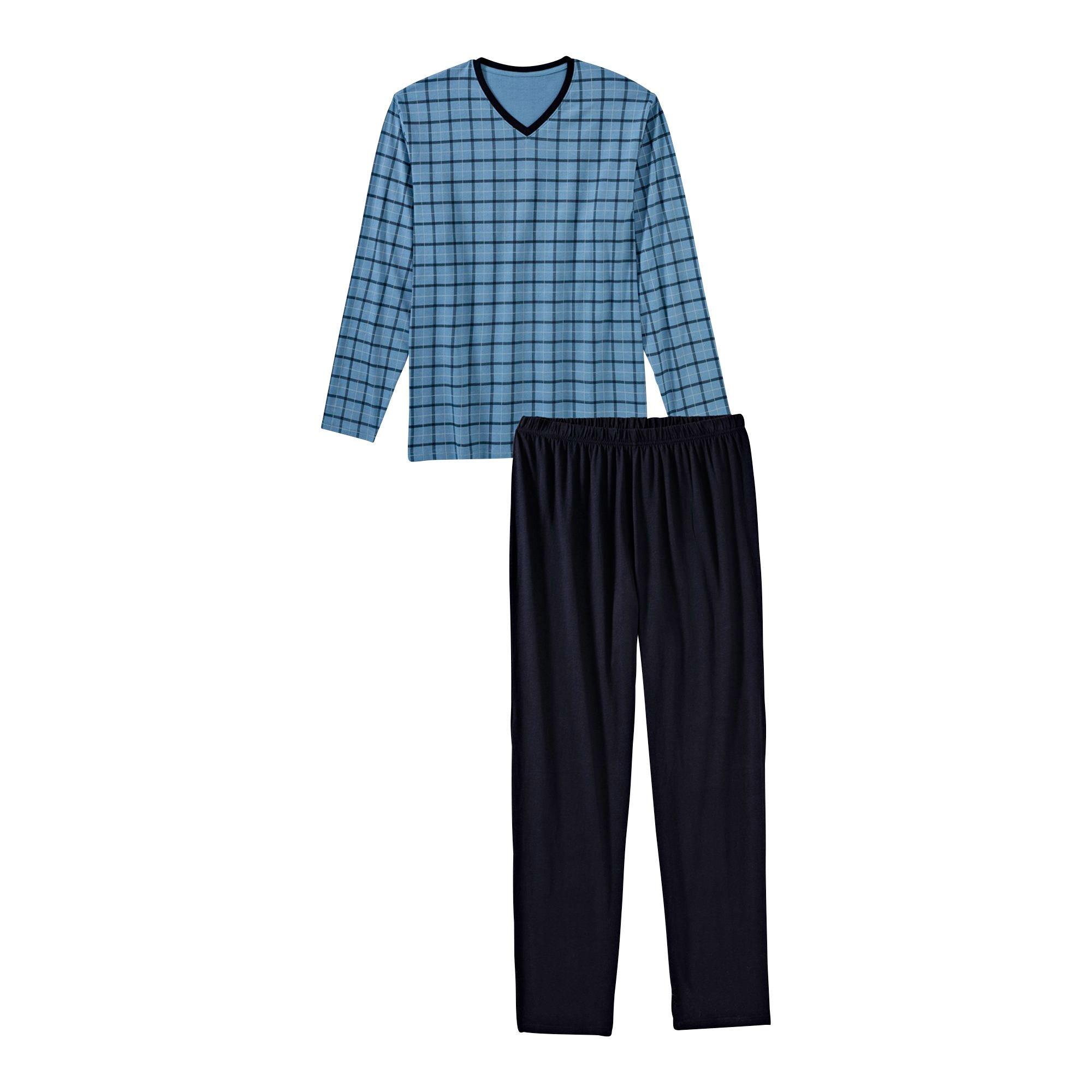 Herren Pyjama, kurz, blaugrau, 52