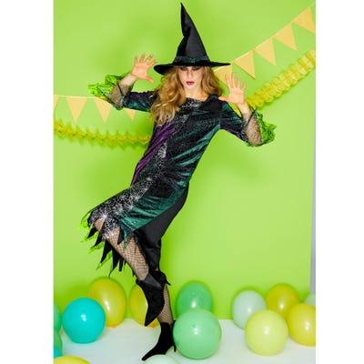 Erwachsenen-Hexen-Kostüm mit spitzem Hut