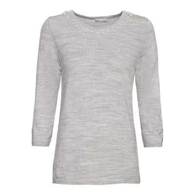 Damen-Pullover mit Schmuckperlen am Ausschnitt