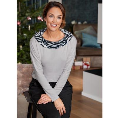 Damen-Pullover mit Fellimitat am Kragen
