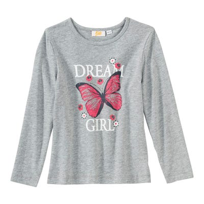 Mädchen-Shirt mit Schmetterlings-Frontaufdruck