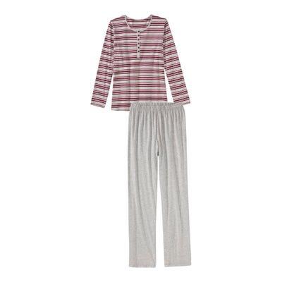Damen-Schlafanzug mit Ringelmuster, 2-teilig