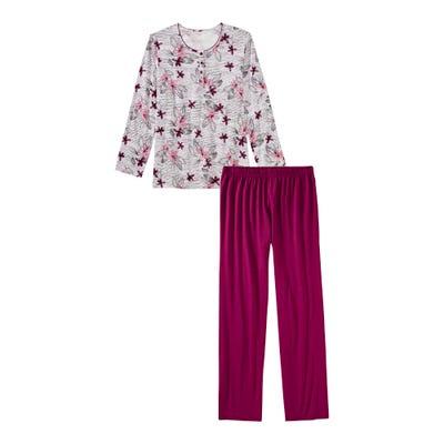 Damen-Schlafanzug mit hübschem Blumenmuster, 2-teilig