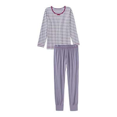 Damen-Schlafanzug mit Streifenmuster, 2-teilig