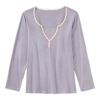 Damen-Schlaf-Shirt mit gepunktetem Einsatz, Mix&Match