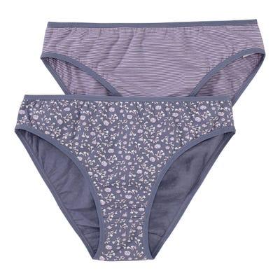 Damen-Minislip mit floralem Muster, 2er Pack