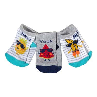 Baby-Jungen-Sneaker-Socken mit lustigen Früchten, 3er Pack