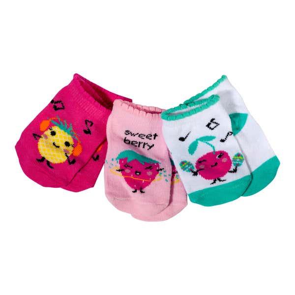 Baby-Mädchen-Sneaker-Socken mit süßen Früchten, 3er Pack
