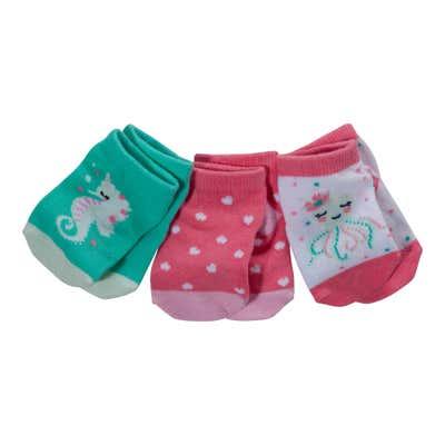 Baby-Mädchen-Sneakersocken mit süßen Motiven, 3er Pack