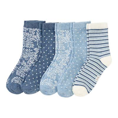 Damen-Socken mit floralem Design, 5er Pack