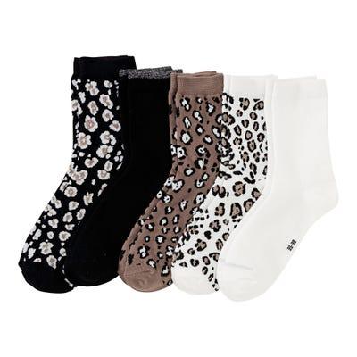 Damen-Socken mit Leo-Muster, 5er Pack