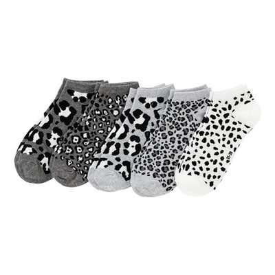 Damen-Sneaker-Socken mit Leo-Muster, 5er Pack