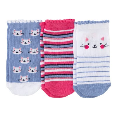 Baby-Mädchen-Socken mit Katzen-Muster, 3er Pack